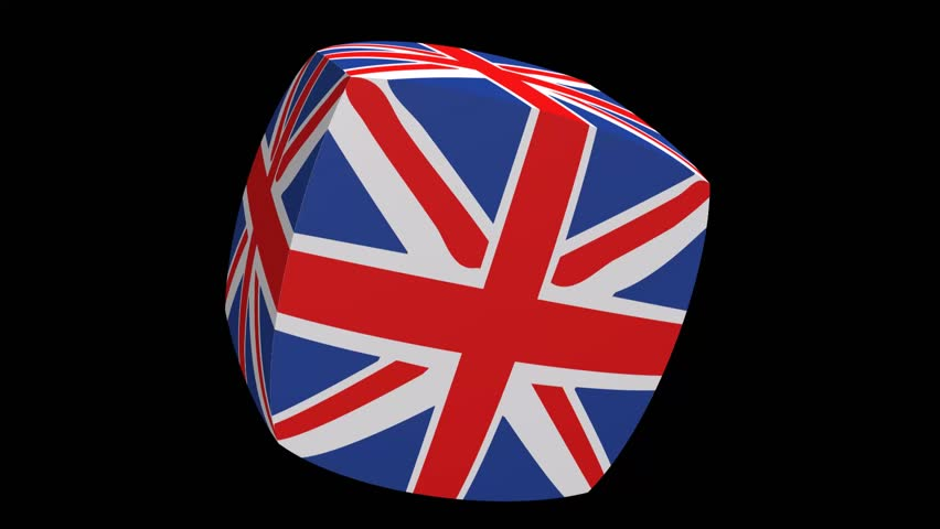 Union Jack Cube Waving   HD Stock Footage Clip