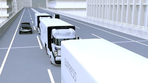 A fleet of autonomous trucks driving on highway. Connected cars concept. 3D rendering animation.