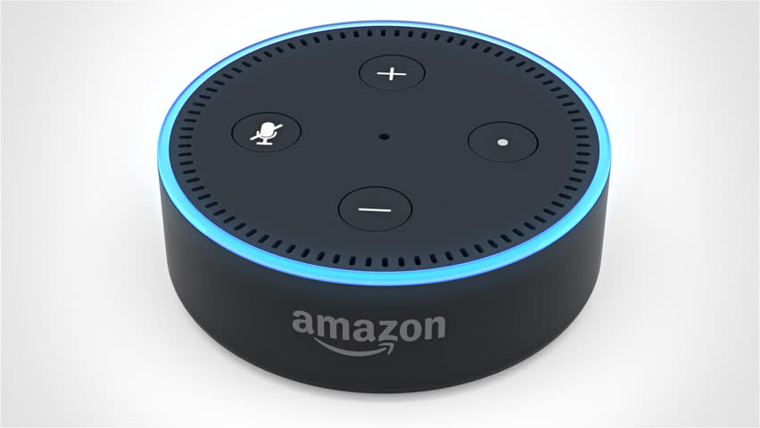 BERLIN - MAY 25, 2017: Amazon Echo Dot 2, Alexa Voice Service activated recognition system filmed on white studio backdrop