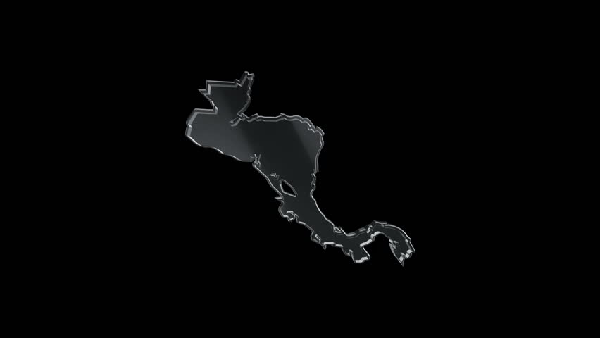 3D Animation rotation of symbol of Central America map from glass. Animation of seamless loop.