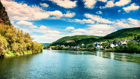 POV footage of boat trip on Rhine river. Picturesque landscape of Mosel region, Germany. Summer nature background, timelapse. 4K, Ultra High Definition, Ultra HD, UHD, 2160P, 3840 x 2160