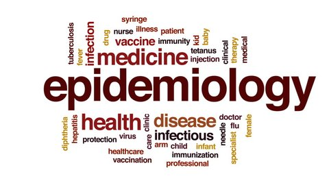 Epidemiology animated word cloud, text design animation.