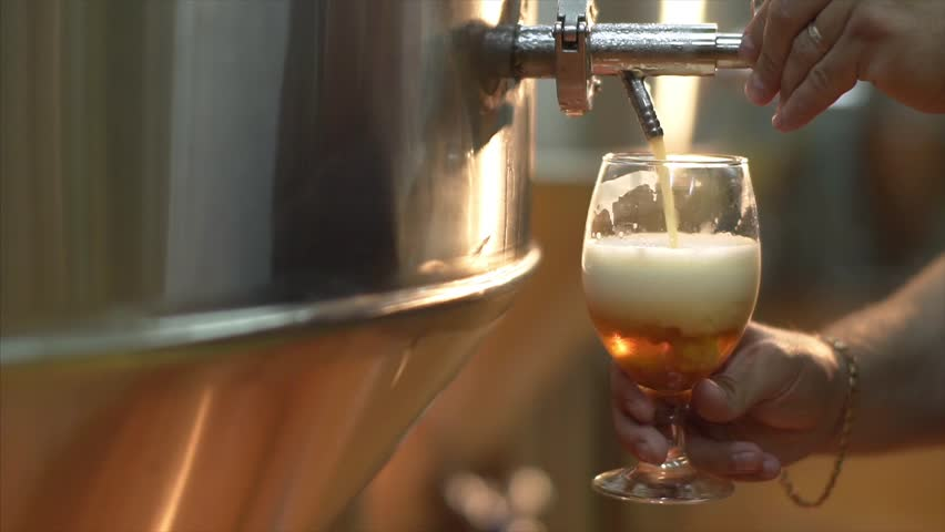 Beer is pouring into the angled glass. Stout, Light, Unfiltered beer, ready to drink beer