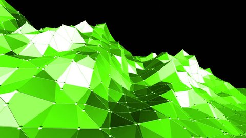 Green low poly background pulsating. Abstract low poly surface as nice background in stylish low poly design. Polygonal mosaic background with vertex, spikes. Cool modern 3D design