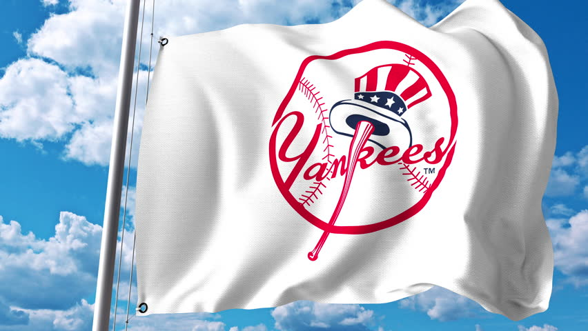 cd20848e2d905 Waving flag with New York Yankees professional team logo. 4K editorial clip