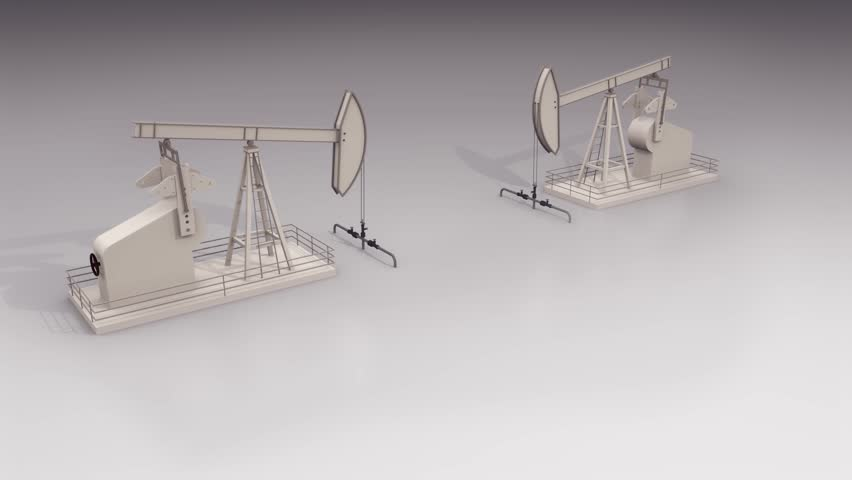 Blueprint engineering drawing animation of a steam engine loops two pump jack competitors facing each other and working hard on white background with copy malvernweather Images