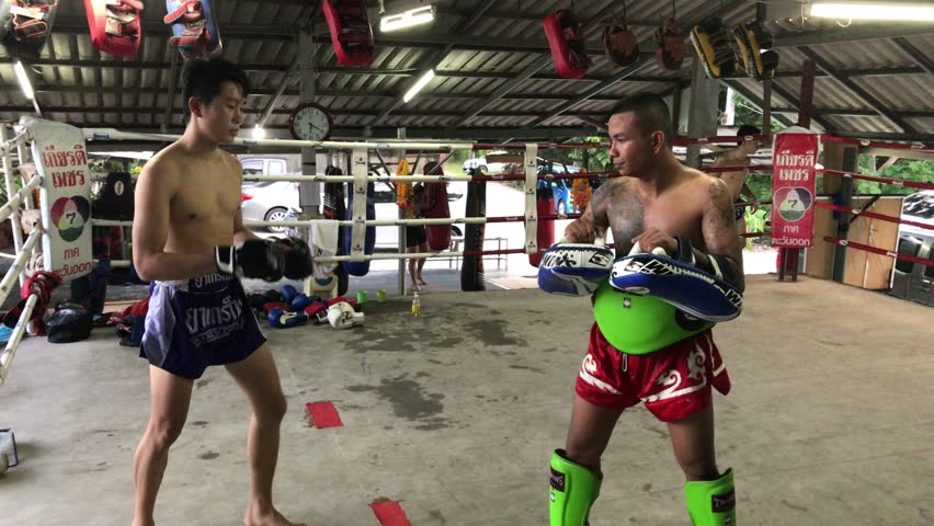 RAYONG, THAILAND – JUNE 27, 2017: Ancestors had taught and passed on this great legacy of Muay Thai to younger generations through a sacred tradition that captures the heart and soul of all Thais.