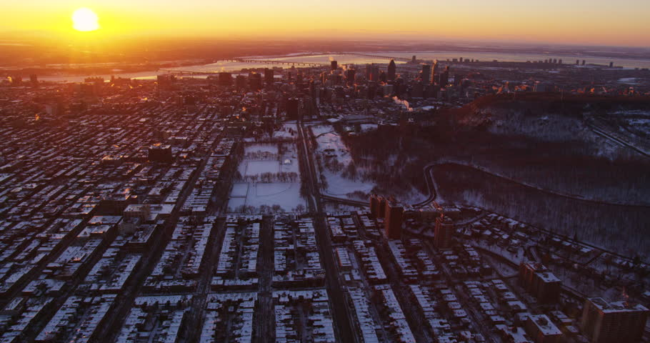 Aerial - Breathtaking View of the Sunrise Above Montreal #28239169