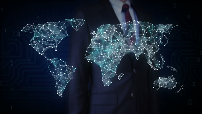 Businessman touch screen, Wireless technology icon connect global world map, dot makes global communication. social media network.2. | Shutterstock HD Video #28243369
