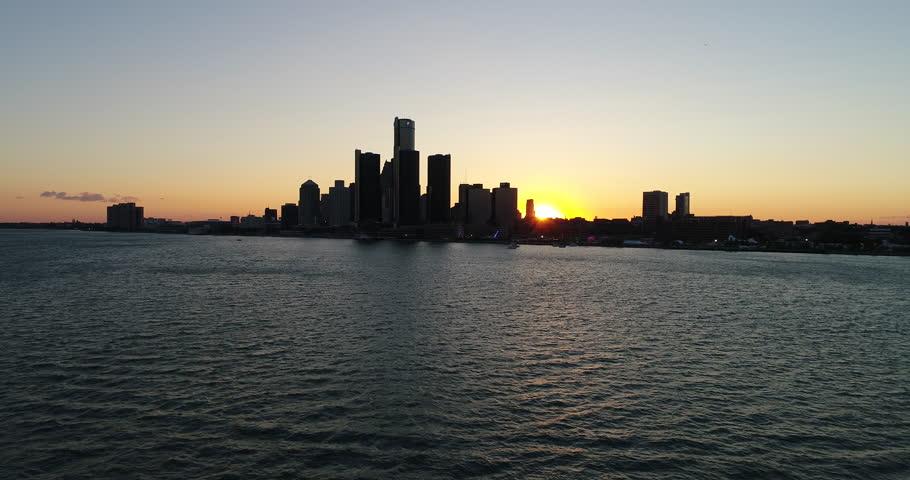 Detroit skyline during sunset
