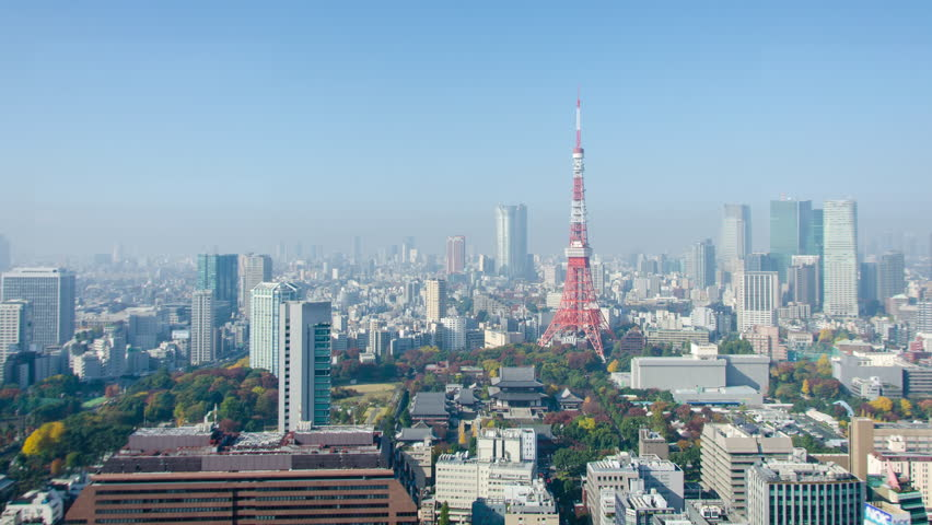 4K Zoom Out Panning Time Lapse : Tokyo Tower in Tokyo , Japan with clear sky, November 2016 | Shutterstock HD Video #28253785