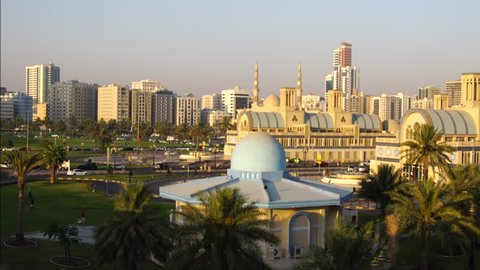 SHARJAH, UAE -May 18 :Sunset life of central souk, May 18, 2017 in Sharjah, United Arab Emirates