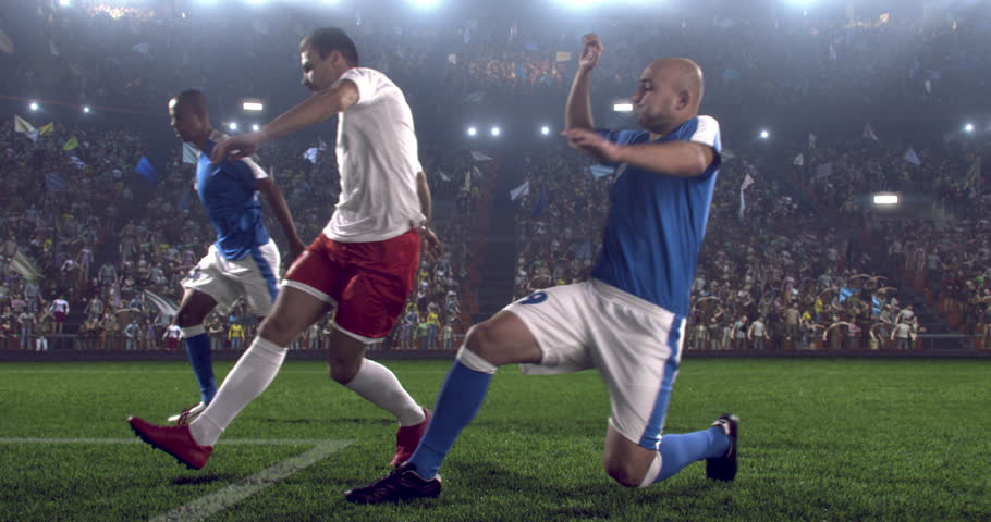 Soccer player makes a dramatic play during game on professional outdoor soccer stadium. All players are wearing unbranded soccer uniform. Stadium and crowd are made in 3D. | Shutterstock HD Video #28284139