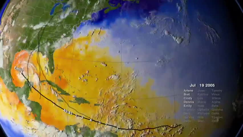 2000s: The entire Caribbean hurrican season is animated on a globe in 2005.