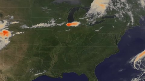 2010s: A weather map tracks a very large storm moving towards the East coast of the U.S.