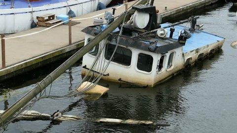 Sunken Boat In Marina