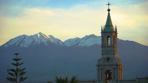 Sunrise in Arequipa with Chachani Mountain in the Background Peru