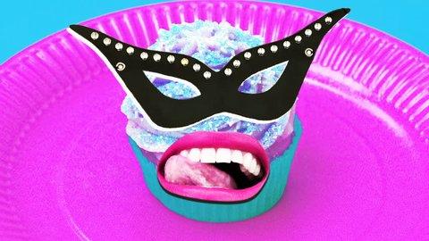 Monster Cake. Crazy party Masquerade. Minimal art