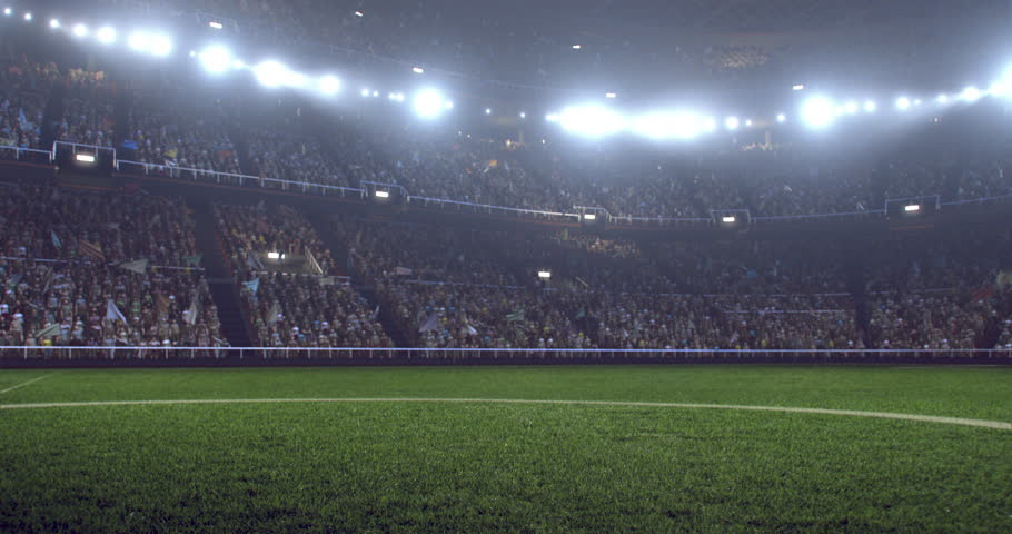 4k resolution footage of a dramatic soccer stadium. The stadium was made in 3d without using existing references. The crowd and light on the stadium are animated. | Shutterstock HD Video #28349389