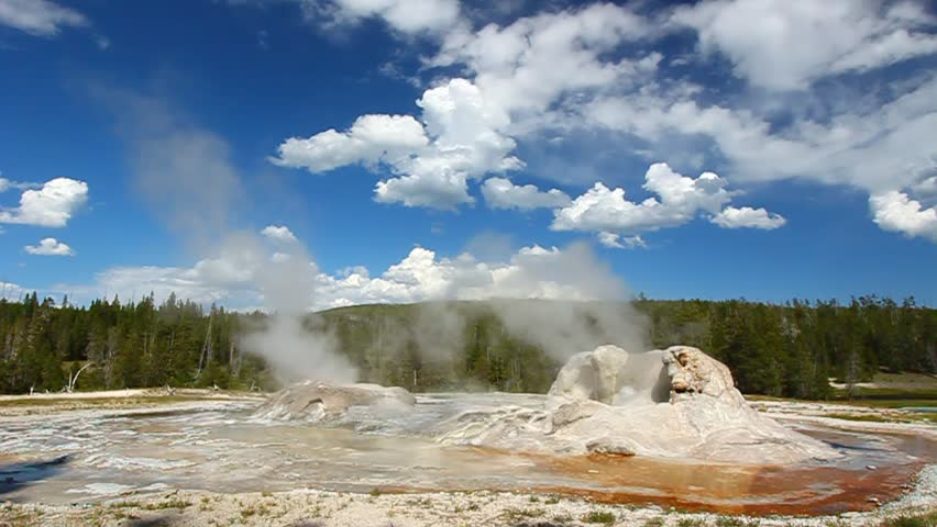 Rocket Geyser and Grotto Geyser in Yellowstone National Park of Wyoming