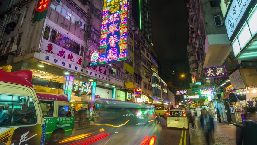 Hong Kong timelapse Maket street Night 4K