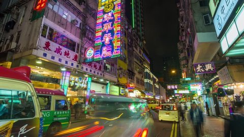 Hong Kong timelapse Maket street Night 4K