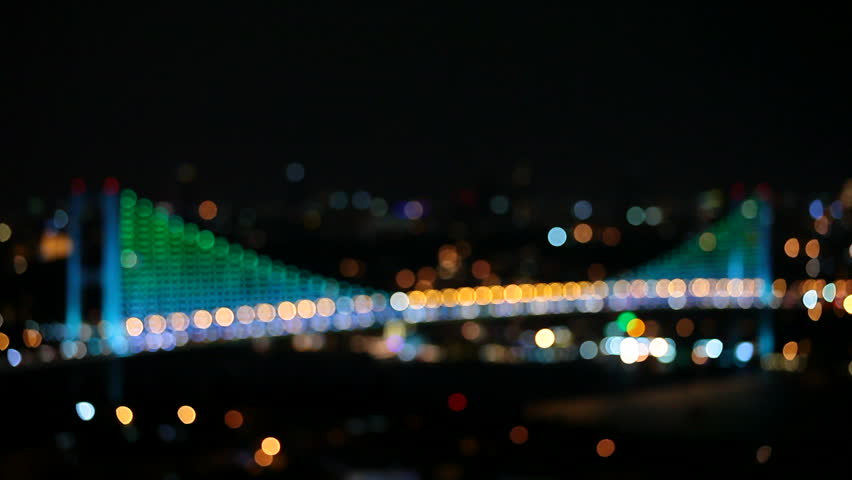 Colorful bridge lights are making show in Istanbul Bosporus Bridge
