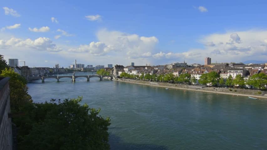 Overview of the Rhine in Basel, Switzerland.    Shutterstock HD Video #28368169