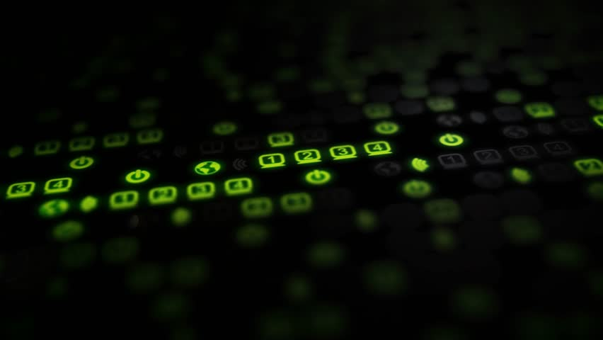 Green blinking lights of a router are moving along the screen, huge amount of data are being transferred all around the world. 3840x2160 4K video.