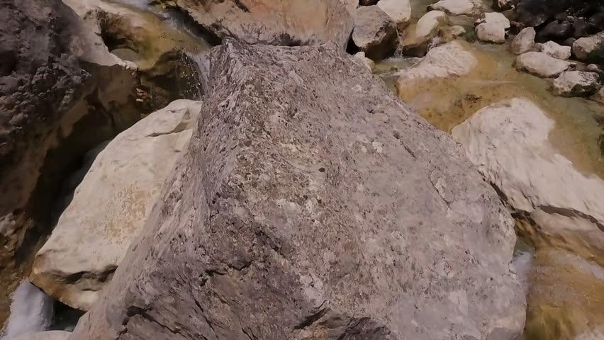 Aerial view. Slow motion video of river Vero in Sierra de Guara Natural Park, Spain.