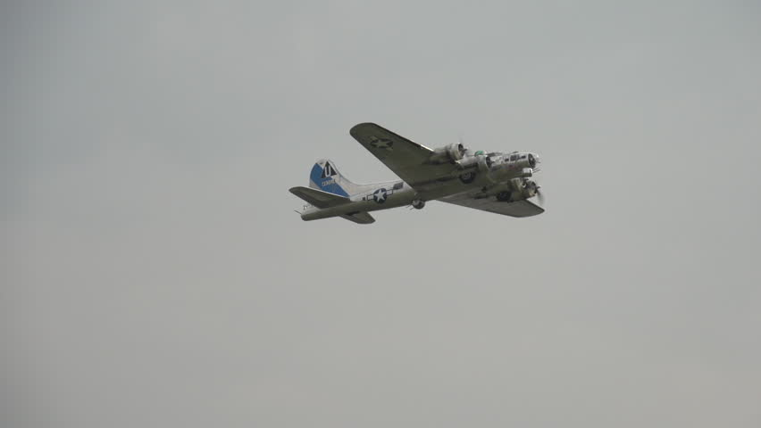 CALGARY, ALBERTA - CIRCA 2012: aircraft, B17 Flying Fortress bomber take off flyby