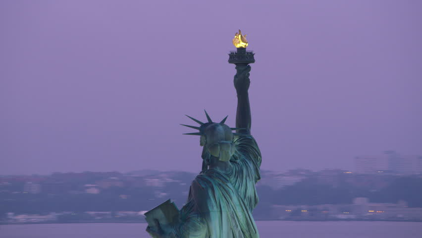New York City circa-2017, Aerial view of Statue of Liberty with Upper New York Bay in background. Shot with Cineflex and RED Epic-W Helium. | Shutterstock HD Video #28500019