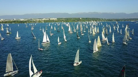 Aerial view of a Sailing Race on Lake Geneva , Switzerland. many of sailing boats in background