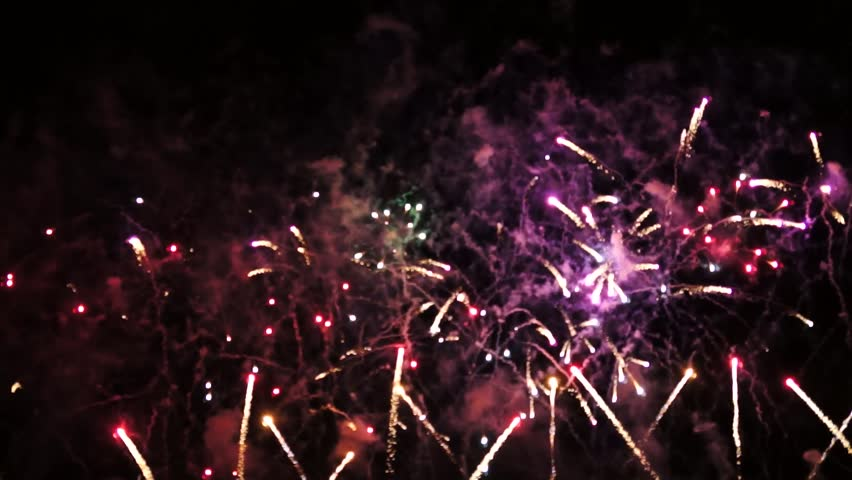 Colorful fireworks of various colors over night sky  | Shutterstock HD Video #2852689