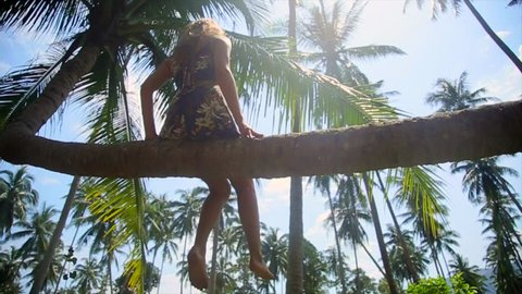 Beautiful Girl Sitting On The Bent Down Coconut Palm in the jungle