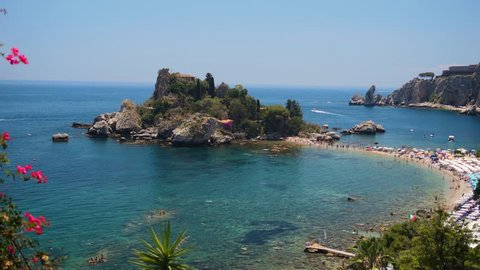 Isola Bella - Beautiful Island & Stunning Beach Lagoon in Taormina, Sicily Italy