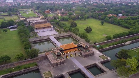 Aerial of Imperial Royal Palace, Hue, Vietnam