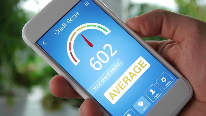 Checking credit score on smartphone using application. The result is AVERAGE | Shutterstock HD Video #28551919