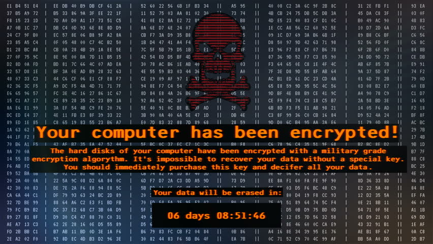Your computer has been encrypted, Petya virus message on screen, cyber attack. Petya ransomware attack, data encryption, information theft, computer hacking