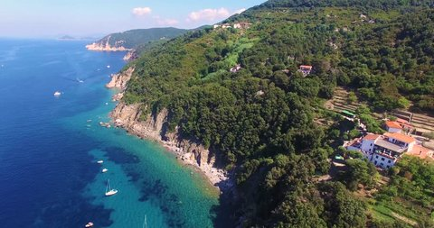 Picturesquare bird view over Sant' Andrea, Elba Italy. Magic coast for holidaylovers.