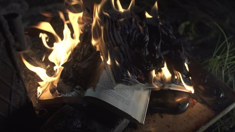 books are burning close up