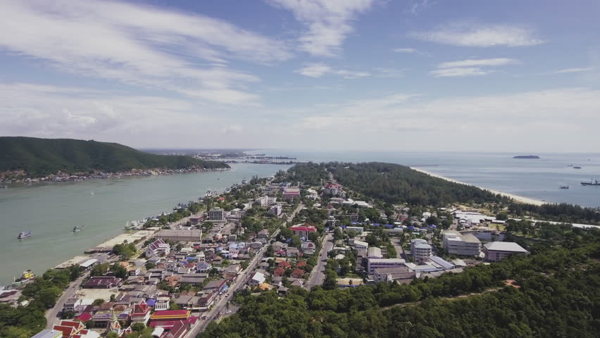 Songkhla province Thailand aerial view from Tang Kuan mountain attractive viewpoint