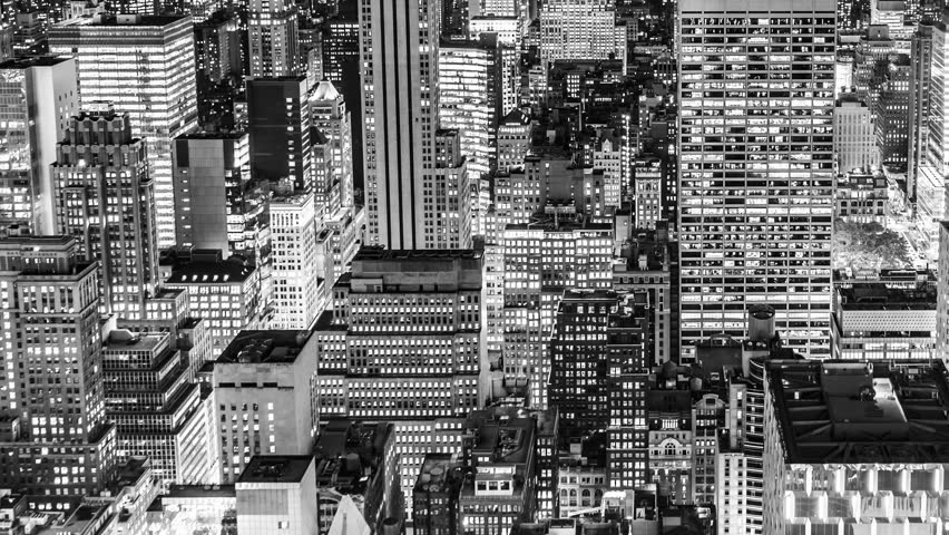 Time Lapse Aerial View over Manhattan New York City at Night in Black and White | Shutterstock HD Video #28604539