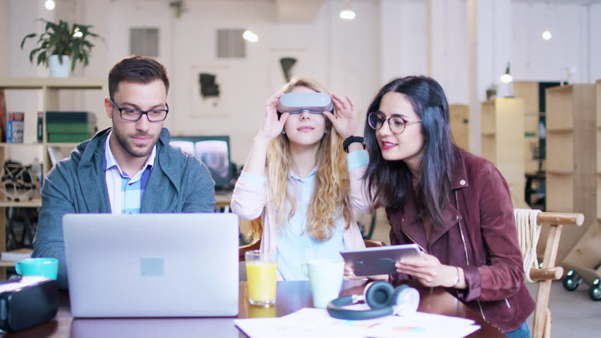 Innovative Young Future Technology Team Of Coworkers Developing Vr Headset Application Apps In A Modern Office Space Virtual Reality Artificial Intelligence Future Of Technology Concept