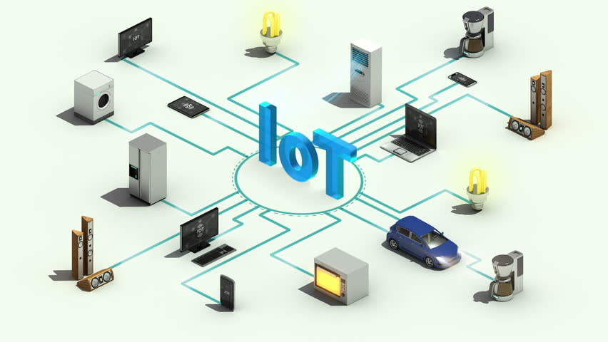 'IoT' technology connecting Smart home appliances technology,  Internet of things, 3 dimensional animation. #28618669
