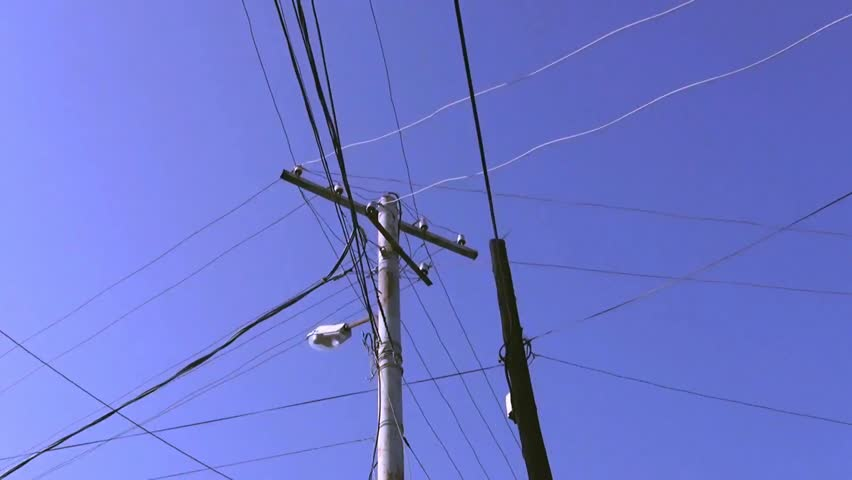 Pole with wires on a blue sky background.  | Shutterstock HD Video #28622749