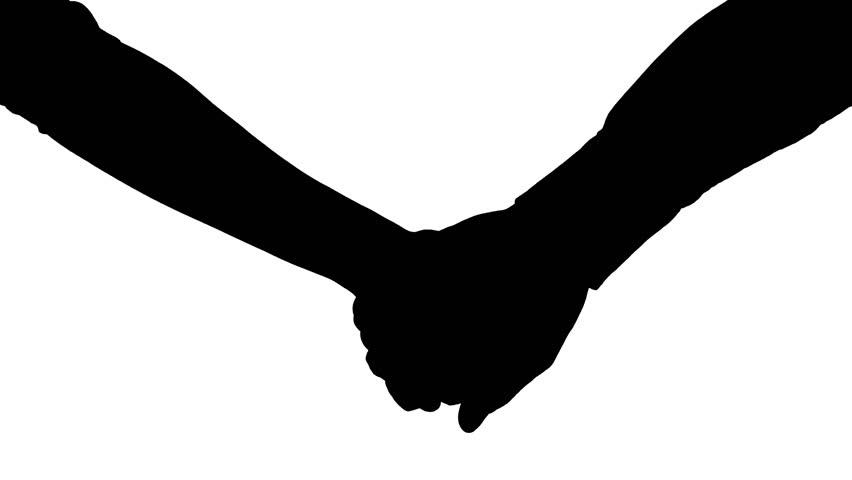 Holding Hands Silhouette - White Stock Footage Video ...