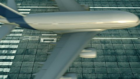 Aerial view of big airplane arriving to Singapore airport. Conceptual intro animation