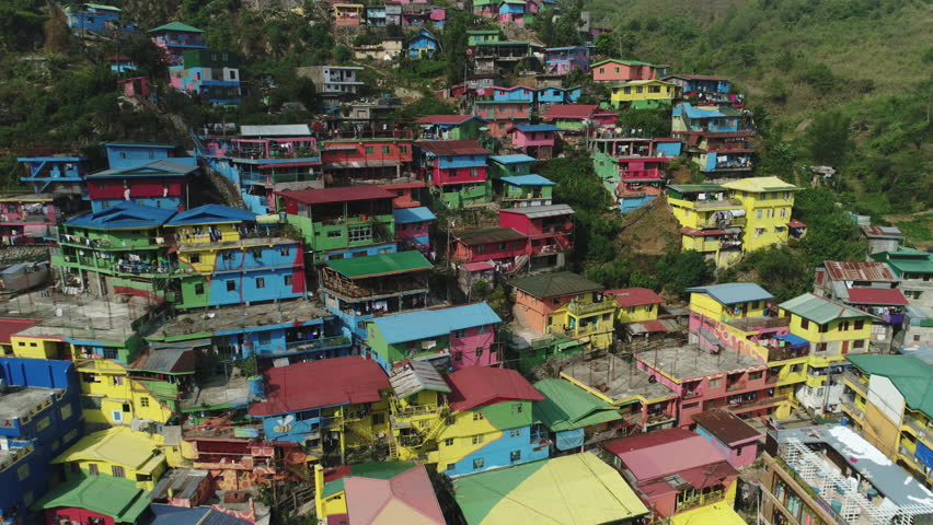 Baguio, Philippines - May 3, 2017: Baguio Aerial view showing colorful La Trinidad district Benguet urban art project