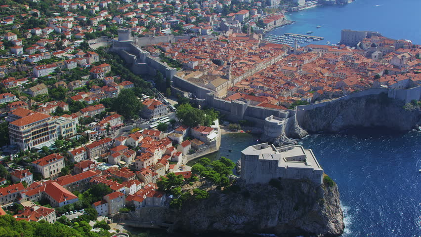 Helicopter aerial shoot of Dubrovnik old town, Croatia